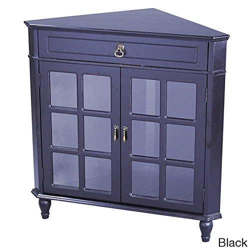 Heather Ann Creations Modern 2 Door Corner Cabinet With Drawer With 6 Pane Glass Insert (Corner Cabinet Glass Doors)