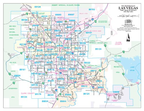 Metropolitan Las Vegas Major Streets And Freeways With Zip Codes