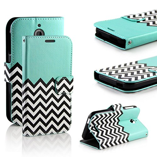 HTC Desire 510 Case, RANZ Stylish Design Deluxe PU Leather Folio Flip Book Wallet Pouch Case Cover (Teal Waves) For HTC Desire 510 (AT&T, Virgin, Sprint, Cricket)