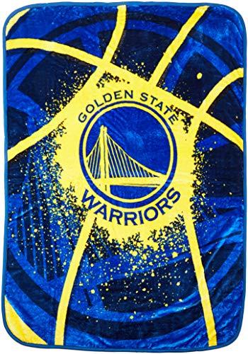 NBA Golden State Warriors Shadow Play Plush Raschel Blanket, Yellow, 60 x 80