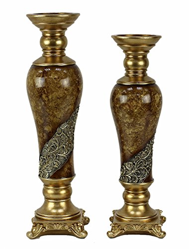 D'Lusso Designs Torina Design Two Piece Hurricane Candlestick Set