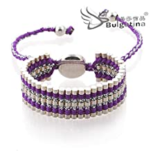 purple color summer dress accessories ladies beach leisure stainless stell wrap beaded cutton weave bracelets