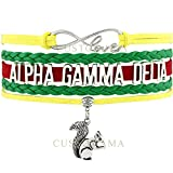 ALPHA GAMMA DELTA Love Charm Bracelet Sorority Pledge College Student Gift Infiniti Jewelry