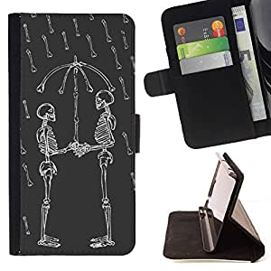For Samsung Galaxy A3 Funny Skull Love Rain Umbrella Skeleton Beautiful Print Wallet Leather Case Cover With Credit Card Slots And Stand Function