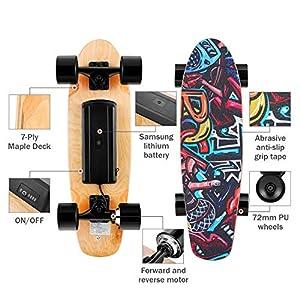Casulo E-Cruiser Skateboard Électrique à Télécommande sans Fil, Moteur 350W 3 Modes de Vitesses Réglables 10-20 km/h pour Enfant/Débutant 8 Ans+ (EU Stock)