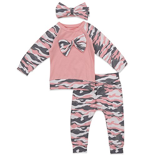 gllive Baby Boys Girls Family Clothes Long Sleeve Camouflage Romper Outfit Pants Set +Hat+Headband (6-12 months, sister pink-A)