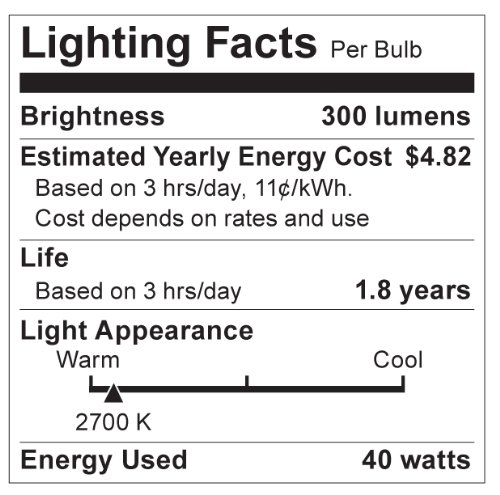 Frosted Satco S4742 120V Medium Base 40-Watt B10//B11 Light Bulb