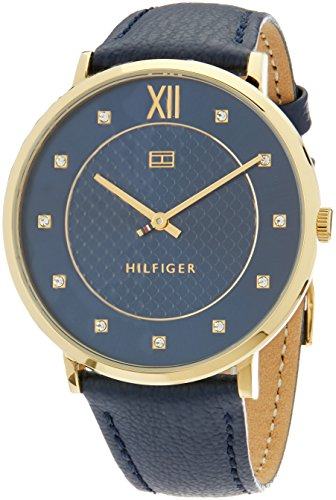 Tommy Hilfiger Women's 'Sophisticated Sport' Quartz Gold-Tone and Leather Casual Watch, Color Blue (Model: 1781807)