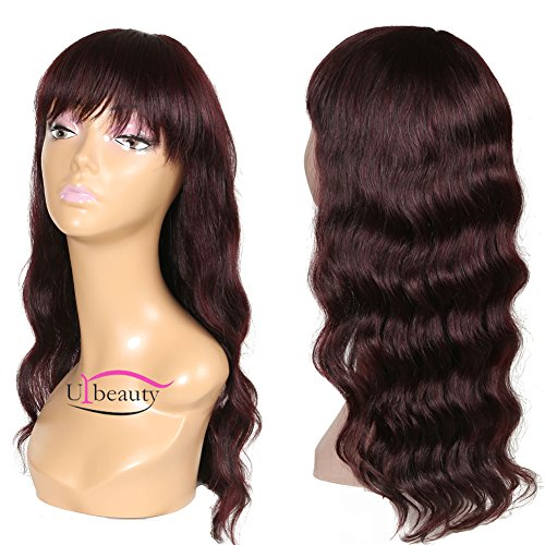 Urbeauty Hair Body Wave Wavy Wig Brazilian Human Hair Wigs For Black Women with Baby Hair 130% Density 22inch (Wig-22inch-burgundy) (Wig-22inch-burgundy)