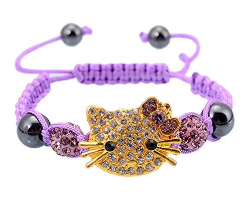 StylesILove Children Handmade Cute Cat Rhinestones Charms Beads Braided Rope Girls Bracelet (Gold and Lilac)