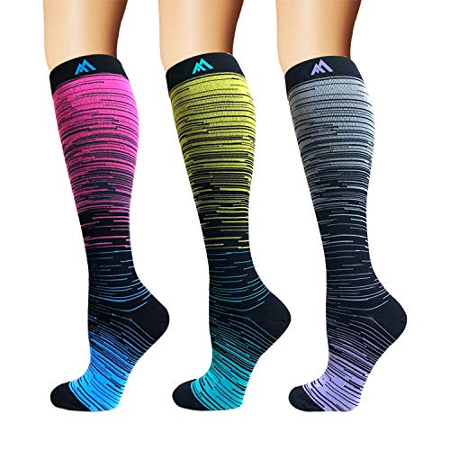 3/5/8 Pairs Compression Socks Women & Men - Best Medical,Nursing,Hiking,Travel & Flight Socks-Running & Fitness (S/M) (Best Muscle Rub For Runners)