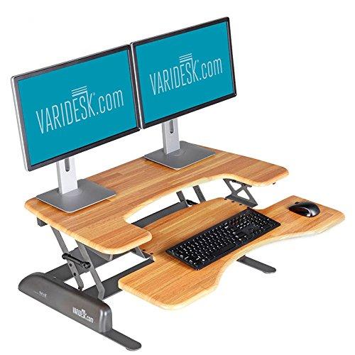 [Height-Adjustable Standing Desk - VARIDESK Pro Plus 36 – Butcher Block] (Shelf Butcher Block Lower)