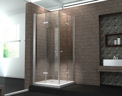 Falttür Duschkabine 8 mm Duschabtrennung Eckeinstieg Dusche Echt Glas 90 x 90 x 195 cm CLAP ohne Duschtasse
