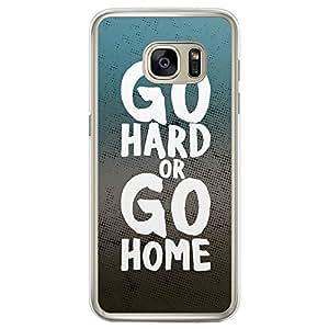 Loud Universe Samsung Galaxy S7 Edge Inspiration Go Hard or Go Home Printed Transparent Edge Case - Blue/Grey