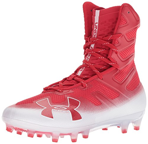 Under Armour Men's Highlight MC Football Shoe, Red (601)/White, 9 (Under Armour Highlight Mid Cut Football Cleats Mens)