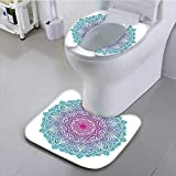 aolankaili Bathroom Non-Slip Rug Set Round Floral Starry Pattern with Soft Aqua Color Spiritual Meditation Theme Zen Art Personalized Durable