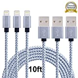 Airsspu Lightning Cable,3Pack 10FT Extra Long Nylon Braided USB Cord Charging Cable,Charger and Sync for iPhone 5/5S/5C/SE 6/6S 6 Plus/6S Plus 7/7 Plus,iPad mini/Air/Pro iPod touch/nano 7(Gray+White)