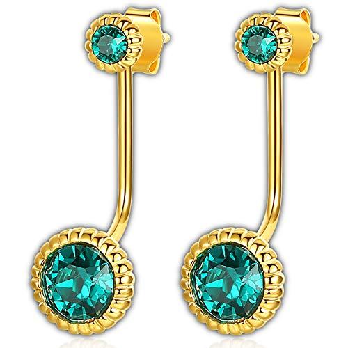 Swarovski Earrings for Women with Emerald Green Crystal from Swarovski 18k Gold Plated Earrings - 3-Way Earrings - Crystal Stud Earrings - Detachable Earrings - Free Passed SGS - Well Crystals Swarovski