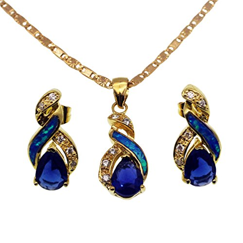 Vanessa Australian Blue White Fire Opal Jewelry Sets for Women, Pendant Necklace Stud Earrings Birthstone Jewelry Gifts (Yellow Gold Sapphire Blue)