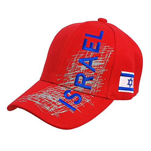 Israel Embroidered Red Baseball Cap Hat Fashion With Israel Flag