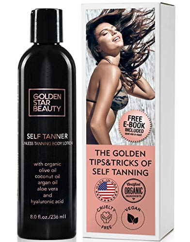 Self Tanner - Sunless Tanning Lotion w/Hyaluronic Acid & Organic Oils Gradual Body Bronzer for Light, Medium or Dark Tan 8.0 fl.oz - Tan Body Tanning Lotion