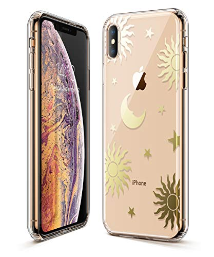 (GVIEWIN Trend Case Compatible for iPhone Xs/X, Hard Back Cover + Soft TPU Bumper Edge with Shining Pattern Design for iPhone 10s/10 5.8
