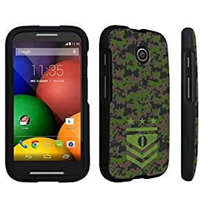 Zheng case Motorola Moto E (2014 Released) Hard Case Black - (Army Camo Monogram O)