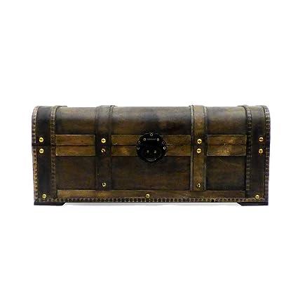 Estilo náutico de madera baúl de almacenamiento – Ideas de regalo para Navidad, cumpleaños,