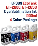 Dye Sublimation Ink 4 Multi Color 500ml bottles - EcoTank ET-2600, ET-2650