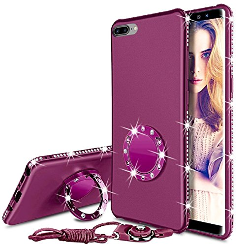 WATACHE Case Compatible iPhone 8 Plus/7 Plus 5.5, Bling Sparkly Diamond Kickstand Ring Holder Slim Full Body Protective Cover with Tempered Glass Screen Protector + Lanyard for Girl Women (Purple)