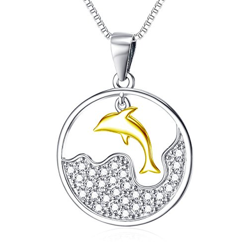 YFN Sterling Dolphin Pendant Necklace