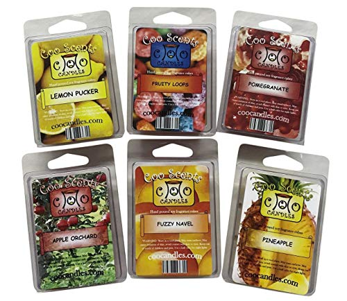 Coo Candles 6 Pack Soy Wickless Candle Wax Bar Tart Melts - Fruity Pack - Includes one 6 Cube Package of Each of Fruity Loops, Lemon Pucker, Mango Papaya, Pomegranate, Pineapple, and Apple Orchard ()