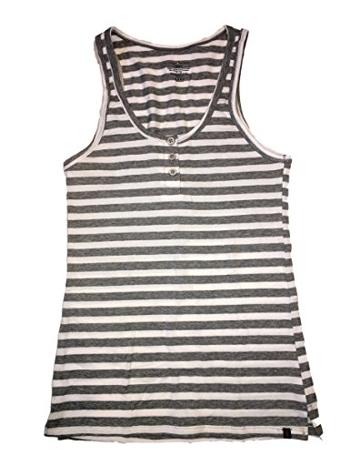 Stripe Henley Tank - Tommy Hilfiger Ladies Henley Tank Top 95% Cotton 5% Spandex (Large (10-12), Heather Gray/White Stripe)