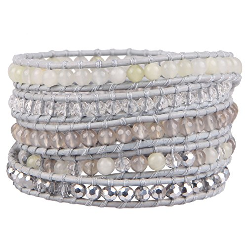KELITCH Agate Crystal Mxi Beaded on Gray Leather 5 Wrap Bracelet Handmade Cuff Bracelet New Jewelry