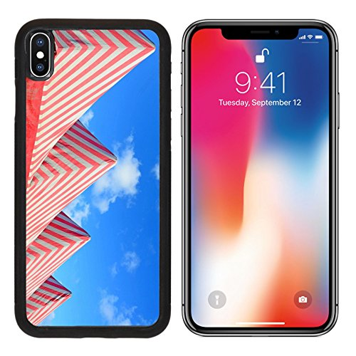 MSD Premium Apple iPhone X Aluminum Backplate Bumper Snap Case IMAGE ID: 32386913 white and red tents under a blue - Cirque Tent