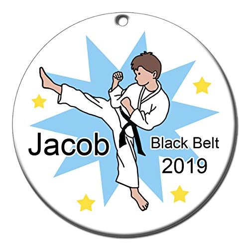 (Karate, Tae Kwon Do or Martial Arts Personalized Ornament - Boy with Brown)
