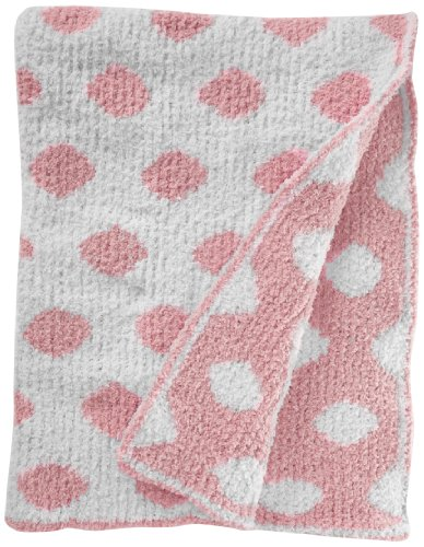 Colorado Clothing Kid's Chunky Chenille Polka Dot Blanket, Kiss Pink, One Size