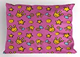 Lunarable Queen Pillow Sham, Retro Cartoon Pattern of Coins Crowns and Rings on Fuchsia Backdrop, Decorative Standard King Size Printed Pillowcase, 36 X 20 Inches, Pale Blue Fuchsia Yellow
