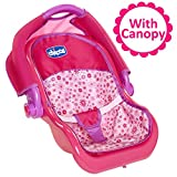 Baby Doll Car Seat Carrier with Canopy, For Baby Dolls Up To 18 Inches Tall, For Girls ages 3, 4, 5, 6 and 7 Years Old, Perfect Gift for Birthday Christmas or Hanukkah