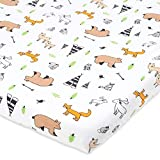 Cuddly Cubs Pack n Play Sheet | Playard Sheet for Baby Girl and Boy | 100% Jersey Cotton Unisex Mini Portable Crib Sheets | Woodland | Best Baby Shower Gift | Fits Graco