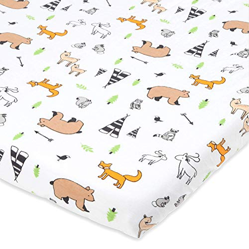 Cuddly Cubs Forest Animals Bassinet Sheets for Chicco Lullago, Halo Bassinest, Arms Reach Co Sleeper, MiClassic and Other Oval, Rectangle Basinette - Stretchy Jersey Cotton - Ultra -