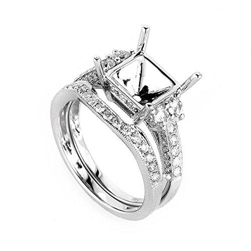 Gold Diamond Mounting (Luxury Bazaar Fancy 18K White Gold Diamond Mounting Bridal Set)