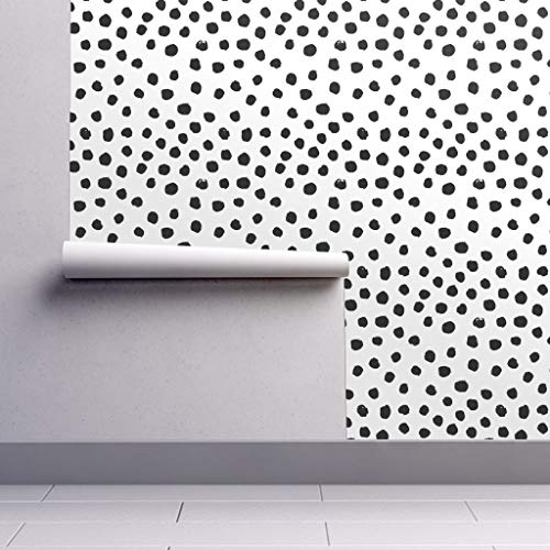 - Peel-and-Stick Removable Wallpaper - Dots Black White Polka Dot Mod by Charlottewinter - 12in x 24in Woven Textured Peel-and-Stick Removable Wallpaper Test Swatch