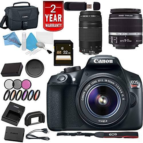 Canon Eos Rebel T6 Digital SLR Camera w/18-55 is II Lens + Canon 75-300 ED III Dual Lens USA Bundle