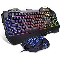 HAVIT Gaming Tastatur und Maus Set, LED Hintergrundbeleuchtung QWERTZ (DE-Layout), 7 Tasten Gaming Maus mit 7 LEDs als Beleuchtung (800 / 1200 / 2400 / 3200 DPI einstellbar) (Schwarz) EINWEG Verpackung