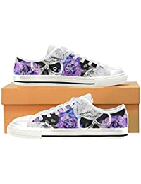 Custom Cool Skull and Flower Womens Classic Canvas Shoes Fashion Sneaker