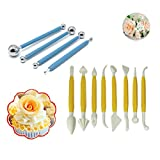 (Set of 12) DIY Cake Tools, 8pcs Plastic Modeling Fondant Tools and 4pcs Metal Ball Fondant Cake Decorating Tools, Polymer Clay&Gumpaste Decorating Modeling Tools Set