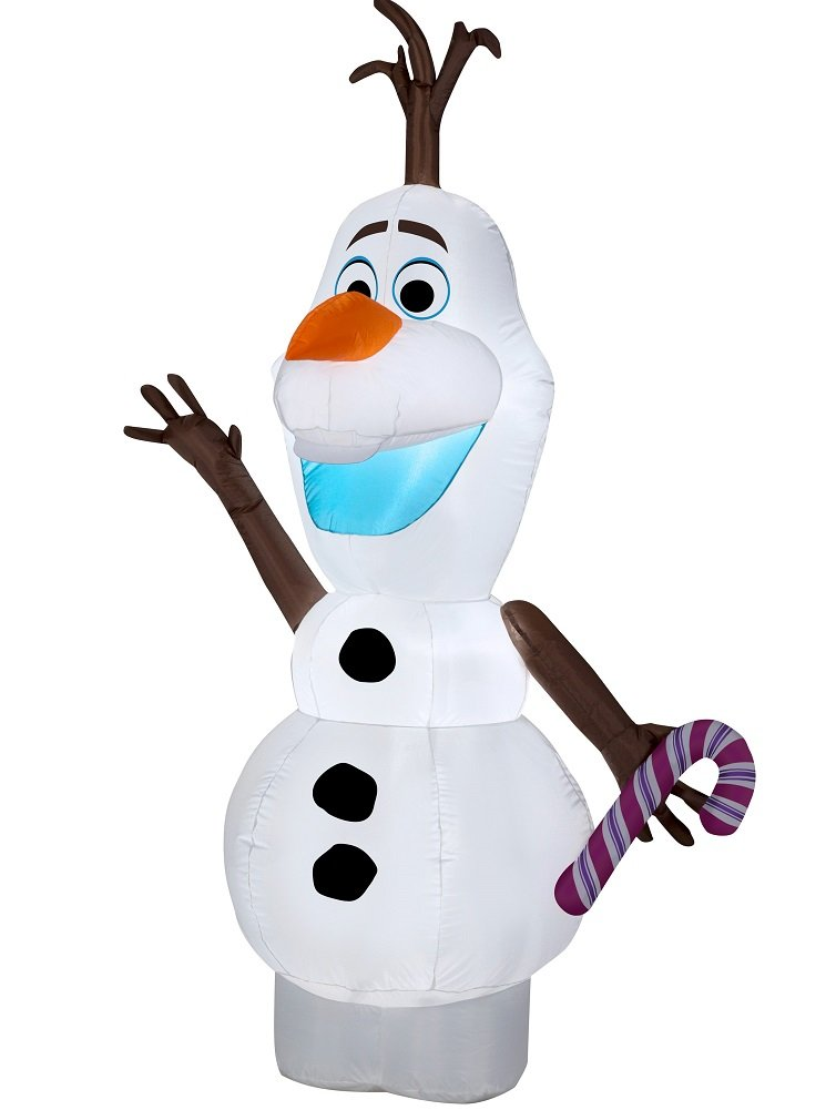 Gemmy Disney Frozen Airblown Inflatable Olaf the Snowman w/ Candy Cane 5.5ft Tall LED