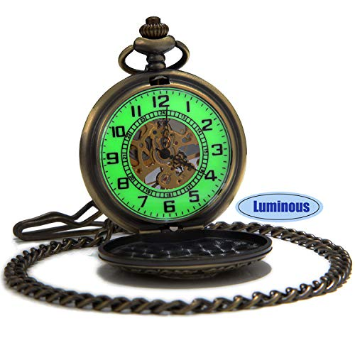 SEWOR Vintage Skeleton Mens Pocket Watch Luminous Case Mechanical Hand Wind with Brand Leather Gift Box (Hollow Bronze) by SEWOR