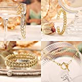5 Pcs Chain Link Bracelet For Women,14K Gold Plated